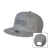 Heather Grey Wool Blend Flat Bill Snapback Hat-Thiel Logo