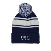 Navy/White Two Tone Knit Pom Beanie w/Cuff-Thiel Logo