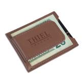 Cutter & Buck Chestnut Money Clip Card Case-Thiel Logo Engraved