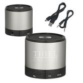 Wireless HD Bluetooth Silver Round Speaker-Thiel Logo Engraved