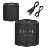 Wireless HD Bluetooth Black Round Speaker-Thiel Logo Engraved