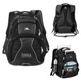 High Sierra Swerve Black Compu Backpack-Thiel Logo