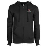 ENZA Ladies Black Fleece Full Zip Hoodie-Stacked Wordmark