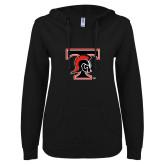 ENZA Ladies Black V Notch Raw Edge Fleece Hoodie-Primary Mark