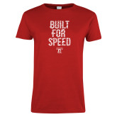 Ladies Red T Shirt-Built For Speed