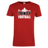 Ladies Red T Shirt-Football Player Design
