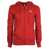 ENZA Ladies Red Fleece Full Zip Hoodie-Stacked Wordmark