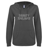 ENZA Ladies Dark Heather V Notch Raw Edge Fleece Hoodie-Trinity Trojans Silver Soft Glitter