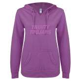 ENZA Ladies Berry V Notch Raw Edge Fleece Hoodie-Trinity Trojans Lilac Soft Glitter