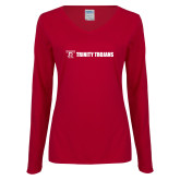 Ladies Cardinal Long Sleeve V Neck Tee-Wordmark