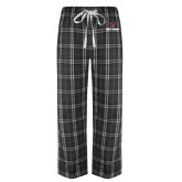 Black/Grey Flannel Pajama Pant-Stacked Wordmark