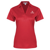 Ladies Red Performance Fine Jacquard Polo-Stacked Wordmark