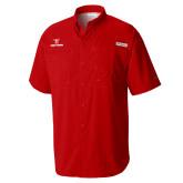 Columbia Tamiami Performance Red Short Sleeve Shirt-Stacked Wordmark