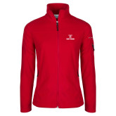 Columbia Ladies Full Zip Red Fleece Jacket-Stacked Wordmark