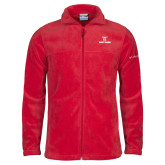 Columbia Full Zip Red Fleece Jacket-Stacked Wordmark
