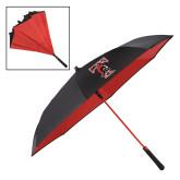 48 Inch Auto Open Black/Red Inversion Umbrella-Pattern Design