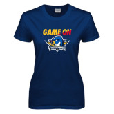 Ladies Navy T Shirt-Game On