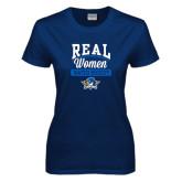 Ladies Navy T Shirt-Real Women Watch Hockey