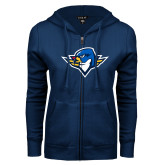 ENZA Ladies Navy Fleece Full Zip Hoodie-Thunderbird Head