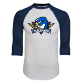 White/Navy Raglan Baseball T-Shirt-Primary Mark