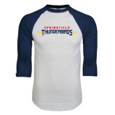 White/Navy Raglan Baseball T-Shirt-Word Mark