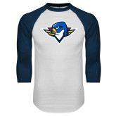 White/Navy Raglan Baseball T Shirt-Thunderbird Head