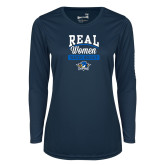 Ladies Syntrel Performance Navy Longsleeve Shirt-Real Women Watch Hockey