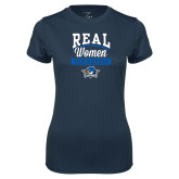 Ladies Syntrel Performance Navy Tee-Real Women Watch Hockey
