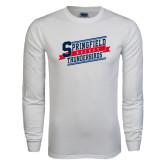 White Long Sleeve T Shirt-Hockey Banner