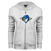 ENZA Ladies White Fleece Full Zip Hoodie-Thunderbird Head