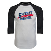 White/Black Raglan Baseball T-Shirt-Hockey Banner