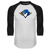 White/Black Raglan Baseball T Shirt-Thunderbird Head