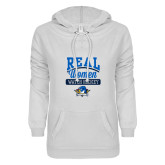ENZA Ladies White V Notch Raw Edge Fleece Hoodie-Real Women Watch Hockey