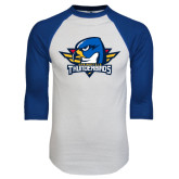 White/Royal Raglan Baseball T Shirt-Primary Mark