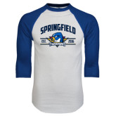 White/Royal Raglan Baseball T Shirt-Arched Established Date