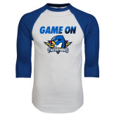 White/Royal Raglan Baseball T Shirt-Game On