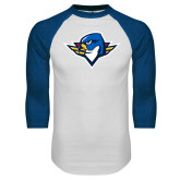 White/Royal Raglan Baseball T Shirt-Thunderbird Head