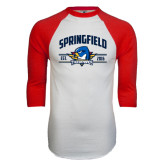 White/Red Raglan Baseball T-Shirt-Arched Established Date