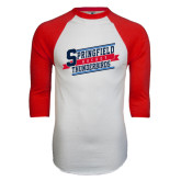 White/Red Raglan Baseball T-Shirt-Hockey Banner
