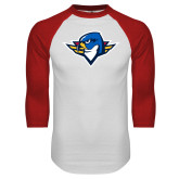 White/Red Raglan Baseball T Shirt-Thunderbird Head