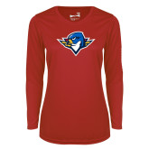 Ladies Syntrel Performance Red Longsleeve Shirt-Thunderbird Head