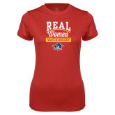 Ladies Syntrel Performance Red Tee-Real Women Watch Hockey