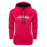 Ladies Pink Raspberry Tech Fleece Hoodie-Word Mark