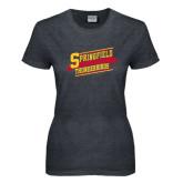 Ladies Dark Heather T Shirt-Hockey Banner