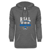 ENZA Ladies Dark Heather V Notch Raw Edge Fleece Hoodie-Real Women Watch Hockey