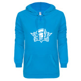 ENZA Ladies Pacific Blue V Notch Raw Edge Fleece Hoodie-Primary Mark