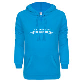 ENZA Ladies Pacific Blue V Notch Raw Edge Fleece Hoodie-Word Mark