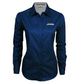 Ladies Navy Twill Button Down Long Sleeve-Word Mark
