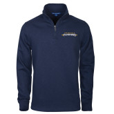 Navy Slub Fleece 1/4 Zip Pullover-Word Mark