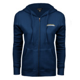 ENZA Ladies Navy Fleece Full Zip Hoodie-Word Mark